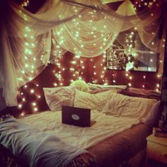 Anyone else think today should be Look at this bedroom inspiration bed DIY cosy room decor room ideas girly bedroom wedreambedrooms Cosy Room, Cozy Bedroom, Dream Bedroom, Light Bedroom, Girls Bedroom, Fall Bedroom, Magical Bedroom, Gypsy Bedroom, Boho Teen Bedroom