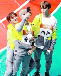 Mingyu, Seungkwan and Vernon//Seventeen
