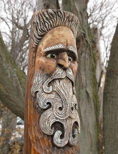 LOVE THIS !!!    Wood Spirit Carving Waldgeist Original Art by RiverOtterRustic, $100.00