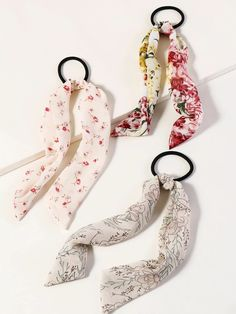 3pcs Floral Pattern Bow Knot Decor Hair Tie | SHEIN South Africa Floral Hair, Hair Ties, Coupon Codes, Free Gifts, Knots, Hair Accessories, Bow, Pattern, South Africa