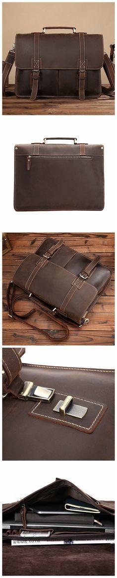 ROCKCOW Leather Vintage Rustic Leather Messenger Laptop Briefcase Satchel Bag for Men and Women 8017