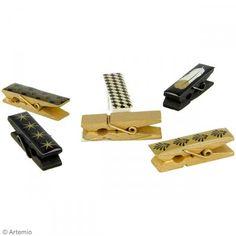 Pinza de madera epoxi - Gold - 4,5 x 1,2 cm - 6 pcs - Fotografía n°2 Diy, Usb Flash Drive, Cufflinks, Accessories, Invitation Cards, Presents, Paper Envelopes, Wood, Festivus