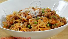recipe image farfelle with sausage and peas from Cooking with Nonna