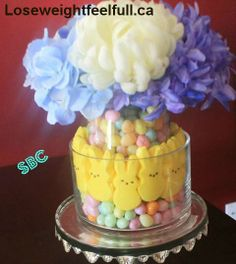 Easter Peeps Centerpiece what you need-- bags of colorful jelly beans 2 boxes of peeps 2 vases, one smaller than the other so it can fit inside,. Easter Peeps, Easter Treats, Easter Stuff, Holiday Crafts, Holiday Recipes, Holiday Ideas, Holiday Decorations, Christmas Decor, Easter Colors
