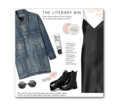 """""""Slipped up"""" by hevsyblue2 ❤ liked on Polyvore featuring Yves Saint Laurent, R13, Sunsteps, Les Bernard, Bare Escentuals, Fresh, denim, grunge, pastel and slipdress"""