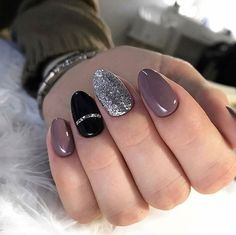 blush black and silver nails