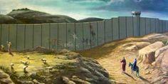 """When Street Art meets nature Banksy Palestine, Famous Modern Artists, Banksy Work, Political Art, Street Artists, Religious Art, Urban Art, Nativity, Cool Pictures"