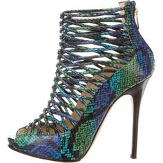 Pre-owned Jimmy Choo Snakeskin Cage Sandals ($250) ❤ liked on Polyvore featuring shoes, sandals, green, multi colored sandals, caged platform sandals, green platform shoes, green sandals and snakeskin sandals