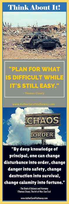 "Quotes to Remember: ""Plan for what is difficult while it's still easy."" - Thomas Cleary; ""By deep knowledge of principal, one can change disturbance into order, change danger into safety, change destruction into survival, change calamity into fortune."" - The Book of Balance and Harmony"