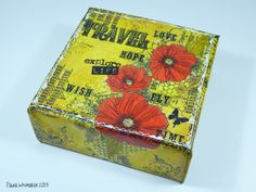 """A 4""""x4"""" deep edge canvas - used Indigoblu """"Blazing Poppies"""" stamp with some Tim Holtz Remnant Rubs."""