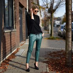"""""""Saturday outfit  wearing @nikkieplessen leather pants #nikkie, #ganni sweater and #bymalenebirger pumps"""""""