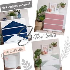 """Create Your World Ltd on Instagram: """"Pimp your drawers 😂 using our vinyls to give plain Malm drawers a unique look! When you fancy a change, simply peel back and start again! …"""" Malm Drawers, Set Of Drawers, Ikea Furniture Hacks, Start Again, Ikea Malm, Contact Paper, Vinyls, Create Yourself, Fancy"""