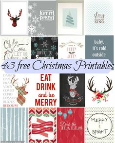 43 Free and Beautiful Christmas Printables. These are genius to decorate with during the holiday.. because they're free! Great for a gallery wall.