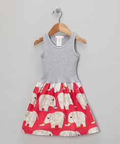 Loving this Gray & Pink Elephant Parade Dress - Infant, Toddler & Girls on #zulily! #zulilyfinds