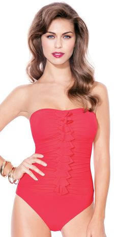 Profile by Gottex 2013 Rapture Red Bandeau One Piece Swimsuit - One Piece Swimsuits - Swimsuits