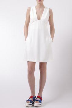 Stella McCartney white a-line dress abito bianco Stella McCartney Spring Summer 2016 WF0 410724 SCA06 9001 shop online