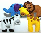 Felt Plushie Safari Collection Handsewing Pattern PDF. Complete instructions to make lion, zebra, giraffe and elephant plushies.