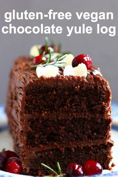 This Gluten-Free Vegan Yule Log is moist and fluffy, super indulgent, and coated in a velvety chocolate buttercream made from chestnuts! It's the perfect festive dessert for Christmas and New Year! Refined sugar free, dairy-free, egg-free. #rhiansrecipes #vegan #glutenfree #dairyfree #yulelog #cake #christmas #chocolate