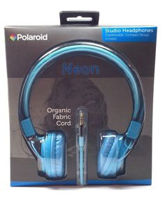 Polaroid Neon Blue Studio Headphones Comfortable Compact Design Php8400 Organic Fabric Cord Foldable Noise Isolation 3.5 Mm Jack (1 Set)