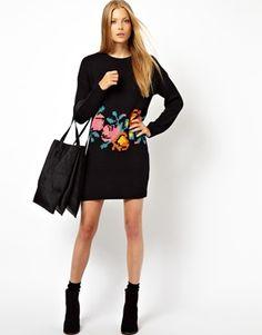 Imagen 4 de Vestido de punto tejido a mano con estampado floral de ASOS
