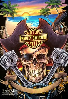 Harley Davidson Motorcycle T-Shirt Designs on Behance Harley Davidson Posters, Harley Davidson Wallpaper, Harley Davidson T Shirts, Motor Harley Davidson Cycles, Harley Davidson Motorcycles, Harley Tattoos, Pirate Art, Pirate Skull, Bike Drawing