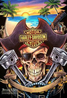 Harley Davidson Motorcycle T-Shirt Designs on Behance Harley Davidson Posters, Harley Davidson Wallpaper, Harley Davidson T Shirts, Motor Harley Davidson Cycles, Harley Davidson Motorcycles, Harley Tattoos, Pirate Art, Pirate Skull, Bike Drawing