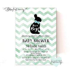 VENTA Conejito muchacho bebé ducha invitación / por AfterFebruary