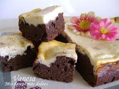 Brownie con tarta de queso