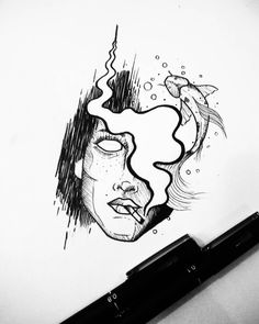 O rosto, o peixe e o cigarro. Tattoo Sketches, Tattoo Drawings, Cool Drawings, Art Sketches, Tattoos, Tattoo Painting, Inspirational Artwork, Pen Art, Art Tutorials