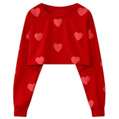 Yoins Oversize Red Heart Pattern Crop Sweatshirt (€22) ❤ liked on Polyvore featuring tops, hoodies, sweatshirts, sweaters, red, shirts, over sized shirts, short tops, shirt top and oversized crop top