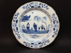 ANTIQUE LATE 18thC QING QIANLONG CHINESE BLUE & WHITE PORCELAIN FIGURAL PLATE