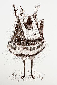 Illustrations, Illustration Art, Baba Yaga House, Witch Tattoo, House Drawing, Art Inspo, Mythology, Fairy Tales, Art Projects