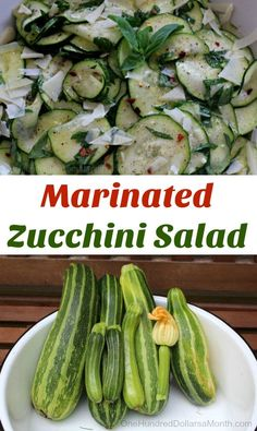 Easy Zucchini Recipes - Marinated Zucchini Salad - One Hundred Dollars a Month Salad Recipes Raw, Raw Food Recipes, Healthy Recipes, Icing Recipes, Zoodle Recipes, Cod Recipes, Ramen Recipes, Freezer Recipes, Potluck Recipes