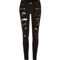 River Island Black rip low rise Amelie superskinny jeans ($90) ❤ liked on Polyvore featuring jeans, black, skinny jeans, women, black distressed jeans, ripped jeans, tall skinny jeans, distressed skinny jeans and destroyed black skinny jeans