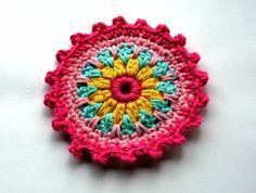 "Large Crochet Embellishment in Pinks, Aqua and Yellow x 4"". $4.50, via Etsy."