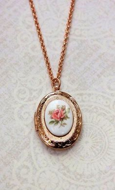 Rose Gold Locket Necklace Oval Locket Pink Rose
