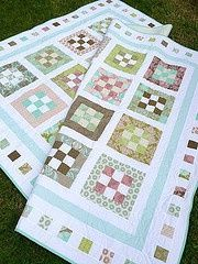 Sweet Menagerie Nine-patch Quilt Tutorial on Moda Bake Shop at http://www.modabakeshop.com/2009/10/sweet-menagerie-nine-patch-quilt.html