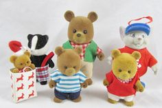 Calico Critters 3 Bears Mouse Badger Flocked by adolladaystl