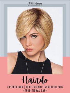 The updated bob: it's layered, not blunt. it's Hollywood iconic but totally today.#hairstyles #hairdo #hairoftheday #styleinspo #styles Short Hair Wigs, Short Hair Styles, Side Swept Bangs, Synthetic Wigs, Wig Hairstyles, Bob, Layers, Hollywood, Traditional