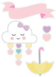Rainbow and cloud birthday Cloud Party, Diy And Crafts, Paper Crafts, Baby Shawer, Unicorn Party, Planner Stickers, Girl Birthday, Hello Kitty, Clip Art