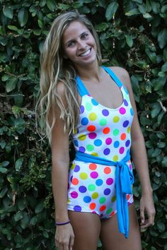 Cris-Cross Cici – Beverly Swimwear. one piece. Modest swimsuit. Circus dots. Retro Bathing suit. Swimsuit for the summer