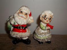 Vintage Santa and Mrs. Claus Salt and Pepper by JunkyardElves