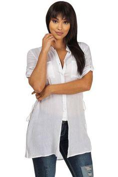Blouses & Tops Blanc Bouton Up Tunique Avec Sides Dentelle modebuy.com