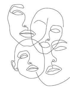 Messy Faces Art Print by Explicit Design - X-Small Outline Art, Outline Drawings, Art Drawings Sketches, Face Outline, Sketch Art, Face Line Drawing, Line Drawing Tattoos, Single Line Drawing, Cat Drawing