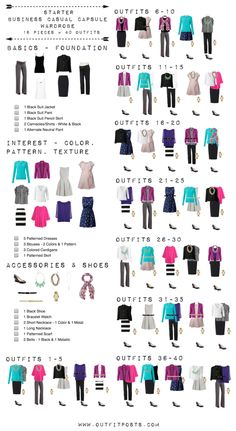 This checklist is a good template for a basic starter work wardrobe. (Even though I created this for my maternity capsule wardrobe it works just as well for anyone with regard to mixing & matching.) I