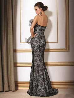 Chic Sheath / Column Strapless Floor Length Lace Black Evening Dress