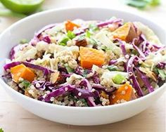 Crunchy Quinoa Buddha Bowl With Ginger-Almond Dressing. We like the shredded cabbage in the quinoa.