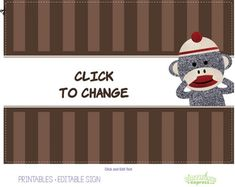 Custom printables to match our Sock Monkey Red party. Click here for the free download.