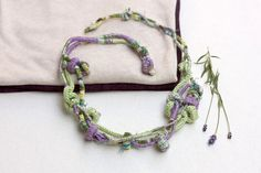 Fiber statement necklace in purple and green Hand wrapped and knitted jewelry with bamboo beads, OOAK by rRradionica on Etsy