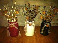 Mason jar w/pip berries